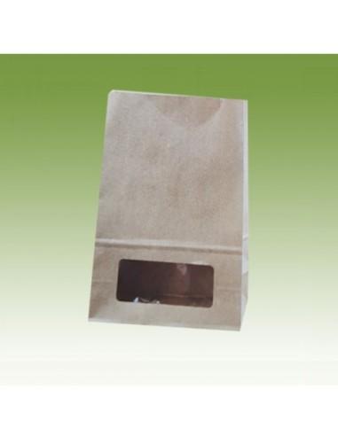 Bolsas de papel con base cuadrada y ventana