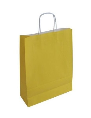 Bolsas de papel celulosa blanco con asa y fondo de tinta impreso