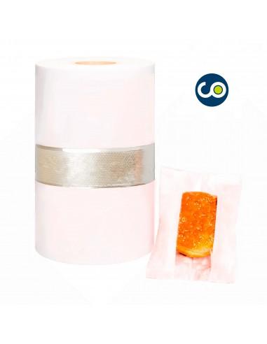 Bobina de papel con ventana para flowpack de color blanco