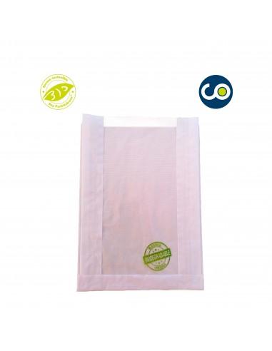 Bolsa kraft con ventana biodegradable y compostable con impresión genérica